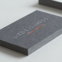 Business Cards printed for Lizzie Edwards - Printed by: www.dot-studio.org - Printing: Side A foil blocking / light grey + copper foil Side B foil blocking / dark grey + copper foil - Paper: side A 270gsm GF Smith Colorplan Dark Grey side B 270gsm GF Smith Colorplan Pale Grey Finishing: Duplex + Foil blocking
