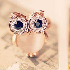 Cute Owl Animal Opal Opening Ring