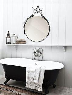 Braided Bridle and Full Cheek Snaffle Bit Mirror in the Bathroom