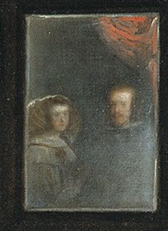 (detail)- Reflected in the mirror Philip IV  and Mariana of Austria (The infanta's parents). Painting by  Diego Velazquez, 1656, Las Meninas (or The Family of Philip IV, oil on canvas, Museo Nacional del Prado.