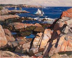 """""""Cape Ann Shore"""", Aldro Thompson Hibbard (1886-1972), Oil on Canvasboard, 16 x 20"""", Private collection."""