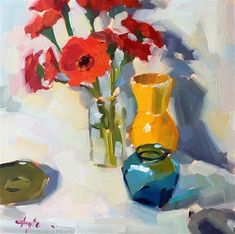 """Daily Paintworks - """"Arrangement with Red Gerberas"""" - Original Fine Art for Sale - © Katia Kyte"""