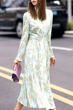 Floral Print Stand Neck Long Sleeve Dress