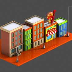 cartoon street toon 3d model