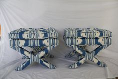 pair  upholstered Mid Century  X bench stool ottoman by WBdeisgn, $895.00 Upholstered Stool, Bench Stool, Ikat, Console, Ottoman, Mid Century, Trending Outfits, Pairs, Handmade Gifts