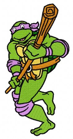 Donatello attacks machine embroidery design      . Machine embroidery design. www.embroideres.com
