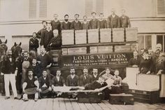 Louis Vuitton, his son's Georges and Gaston Vuitton (on the LV packaway bed) and 3 generations of craftsmen. History, craftsmanship, and fashion oh my!!