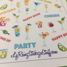 Cocktails,  Adult Beverage  Stickers for Passion Planner, Erin Condren, Happy Planner, Filofax, Kikkik, Bujo...etc by LyRainzStickrzNStuff on Etsy