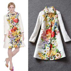 New Autumn Winter Fashion White or Black Desigual Print Floral Trench Coat Smart Casual Outfit, Indian Gowns, Pakistani Dresses, Mode Batik, Fashion Gone Rouge, Batik Fashion, Winter Stil, Floral Jacket, Batik Dress