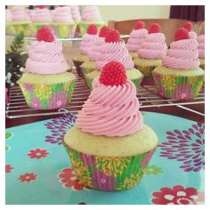 Pistachio Cupcake with Raspberry Frosting