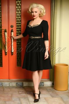 Hearts /& Roses 50/'s Vintage Black Dorothy Multi Retro Wild Floral Swing Dress