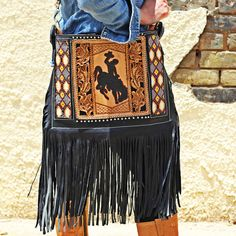 custom hand tooled leather leatherwork triesta by wild bleu fringe purse bronc rider
