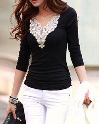Lacework Splicing Fashionable V-Neck Long Sleeve Women's T-Shirt (BLACK,M) | Sammydress.com Mobile