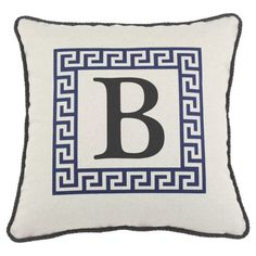 D'Kei Color Alphabet Graphics Pillow Blue - P17-LTRF-GK-57