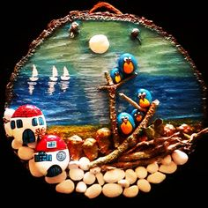 """96 Beğenme, 3 Yorum - Instagram'da driftwood&tasboyama (@oyatastasarim): """"#tasboyama #tasboyamasanati #taşboyamasanatı  #tastasarim #kendinyapprojeleri #hediyeliktas…"""" Beach Scenes, Hobbit, Snow Globes, Planets, Decor, Rocks, Manualidades, Stones, Ideas"""