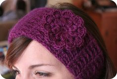 headband earwarmer with pretty flower crochet pattern (love that purpley color too!)