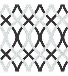 WallPops®️️ NuWallpaper™️ Black and Silver Lattice Peel And Stick Wallpaper