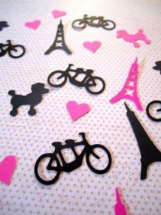 Paris Confetti Eiffel Tower Tandem Bike Poodle Heart Die Cut Confetti Table Sprinkles Paris Theme Party Decor by WhimseyDimples on Etsy https://www.etsy.com/listing/216968917/paris-confetti-eiffel-tower-tandem-bike