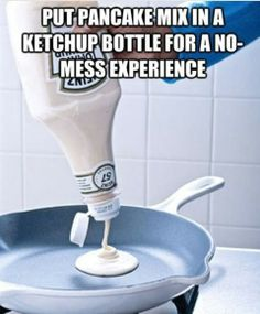 Use ketchup bottle for easy and even pancakes