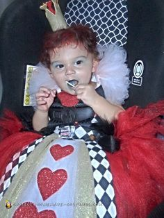 This is my one year old daughter in her Queen of Hearts costume. After getting some ideas online I knew this had to be her costume, it totally fits her per Halloween Costume Contest, Halloween Diy, Happy Halloween, Costume Ideas, Queen Of Hearts Costume, Alice In Wonderland Costume, Homemade Costumes, One Year Old, Baby Costumes