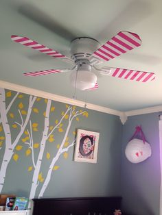 White ceiling fan painted pink