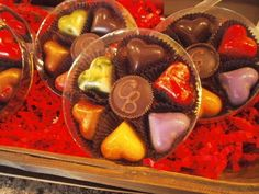 Various flavored hearts, plus a peanut butter cup in the center, of course they're handmade at Cocoa Bean. Gluten Free Menu, Peanut Butter Cups, Acai Bowl, Cocoa, Beans, Birthday Cake, Fruit, Breakfast, Handmade
