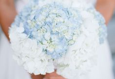 Blue and White Hydrangea Bouquet |  Keepsake Memories Photography | blog.theknot.com