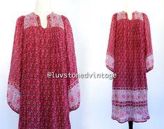 70s Vintage In Depot India Tent Gauze Burgundy Cotton Boho Hippie Indian Ethnic Festival Maxi Dress . XS . SM . 781.3.29.14