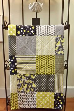 Baby Quilt - Gray Bird Baby Blanket - For Boy or Girl - Black, White, Grey, and Citron Yellow - Gender Neutral. $79.00 USD, via Etsy.