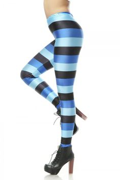 Dealkiller Women's Striped Neon High Waisted Spandex Footless Leggings Tights Blue: Clothing
