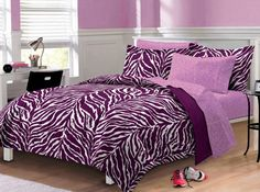 College Dorm Room Accessories Zebra Print 6 Piece Bed In A Bag (TWIN) Part 72