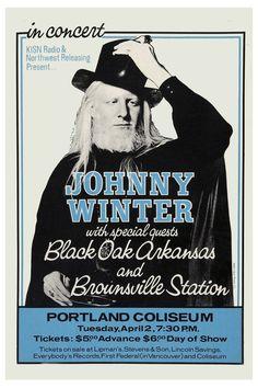 Johnny Winter & Black Oak Arkansas At Portland Coliseum Concert Poster Rock Band Posters, Concert Flyer, Concert Tickets, Vintage Concert Posters, Blue Poster, Blues Music, Jazz Blues, Tour Posters, Rock Concert