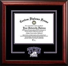 texas christian university mascot logo diploma frame 85 x 11 click on the image