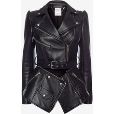 Alexander McQueen Zipped Biker Jacket (5 640 AUD) ❤ liked on Polyvore featuring outerwear, jackets, coats, tops, alexander mcqueen, black, zipper jacket, genuine leather biker jacket, collar jacket and motorcycle jacket