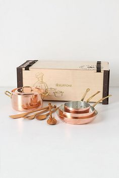 "Ruffoni Copper Cookware Set $1,098 (Set includes stew pan with lid, saucepan, frying pan, saute pan and wood utensils in a wood gift box; Copper, brass, tin; Hand wash-Lid: 8.75"" diameter; Stew: 4.75""H, 8.75"" diameter; Sauce: 3.5""H, 6.5"" diameter; Fry: 2""H, 10"" diameter; Saute: 2.75""H, 8.75)"