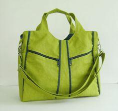 Sale - Apple Green Water-Resistant Nylon Shoulder Bag - Diaper bag, Tote, Messeavel bag, Women - LIttleAllison