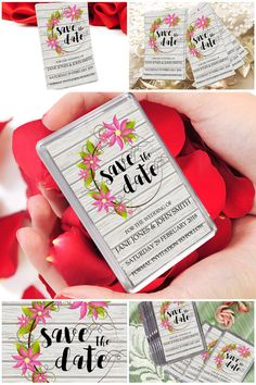 Save The Date Fridge Magnets Floral & Wood Save The by Prandski