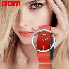 [ $19.92 ] Watch Women DOM brand luxury Fashion Casual quartz Unique Stylish Hollow skeleton watches leather sport Lady wristwatches