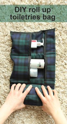 This simple, easy to make DIY travel toiletries bag is just what you need for your travels! It holds a surprising amount, then rolls up for easy storage.