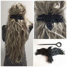 """""""The Nevermore wearable weaponry hairslide by lunation_leathers is a collaboration that provides women's Fashion with weaponry to protect yourself ! Hippie Chic, Hippie Man, Look Rockabilly, Latest Fashion For Women, Womens Fashion, Hair Slide, Hair Sticks, Hair Accessories For Women, Hair Barrettes"""