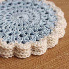Blue and Cream Crochet Set of 4 Doilies by girlybunches on Etsy, $13.50
