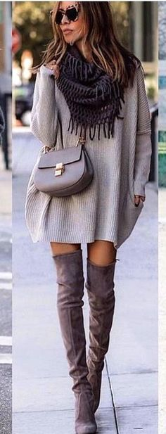 #spring #outfits woman wearing gray knitted mini dress. Pic by @best_street_styles