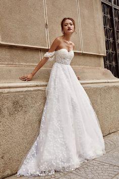 Boho Wedding Dress, Dream Wedding Dresses, Bridal Dresses, Detailed Wedding Dresses, Whimsical Wedding Dresses, Mermaid Wedding, Strapless Wedding Dresses, Wedding Dress Sheath, Detachable Sleeves Wedding Dress