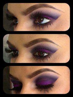 Sexy purple smoky eyes makeup