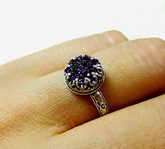 Gotta have one in silver too of course! Gothic Sterling Silver Ring with Heart Bezel and Titanium Purple Drusy Quartz Druzy.