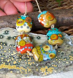 beachside handmade lampwork beads sra by lisanew on etsy