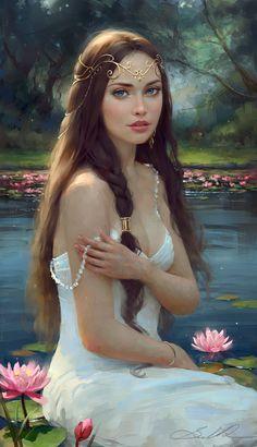 La jeune femme et les nympheas