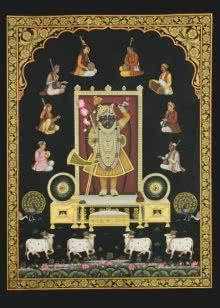 Srinathji with Musicians painting by Rajendra Khanna | ArtZolo.com