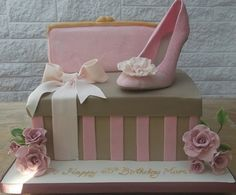 stiletto shoebox cake with handbag by Sylvie's Cake Creations
