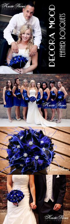 Love this wedding idea. Decora Mood Feather Bouquets. Starlet bridal packages seen here in Royal Blue and Black